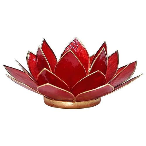 Eclairage Lotus 1° Chakra rouge et or