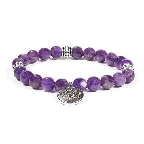 Mala / bracelet améthyste élastique lotus