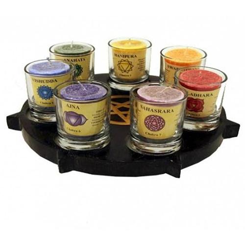 Tea-light SET Pentacle + chakra candles/glasses