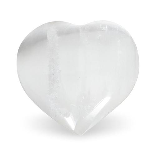 Selenite hearts white