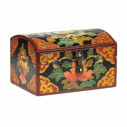 Tibetische Schatzkiste mit Lotus