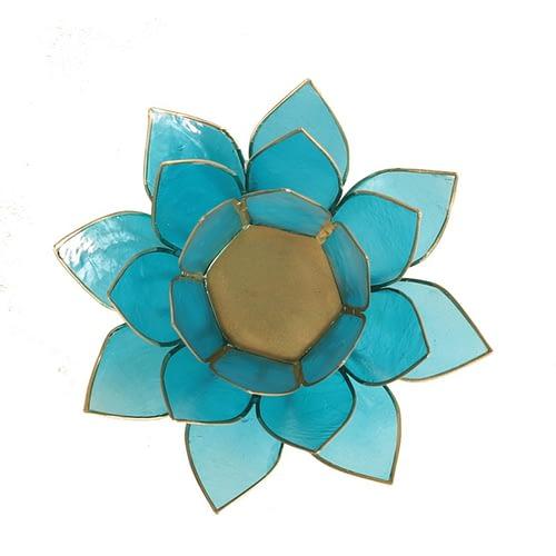 Eclairage Lotus 5° Chakra bleu et or