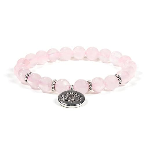 Mala / bracelet quartz rose élastique avec Lotus