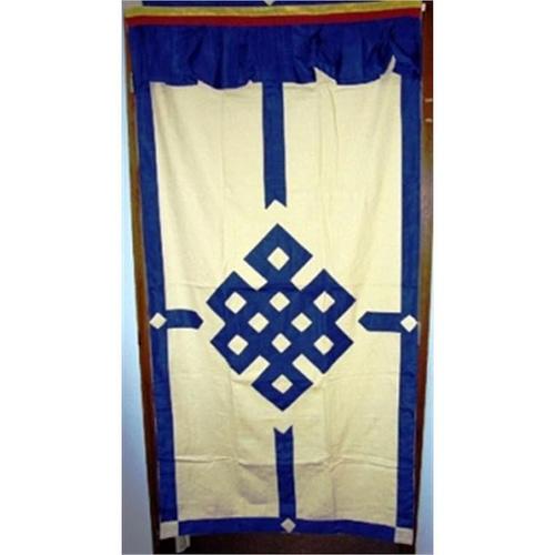 Rideaux tibétain pour porte ivoire et bleu