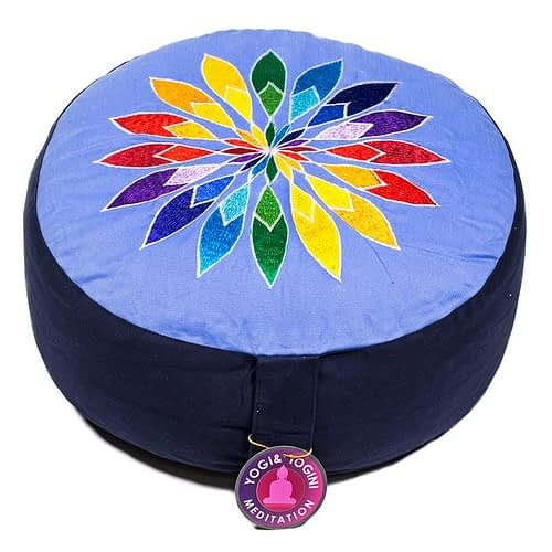 Meditationskissen Multicolor-Blumenmotiv blau