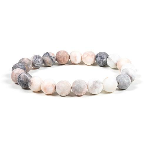 Mala / bracelet élastique jaspe rose zèbré