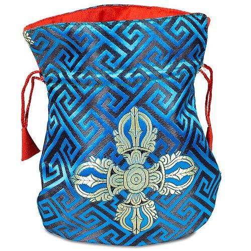 Brocade bag blue double dorje lined