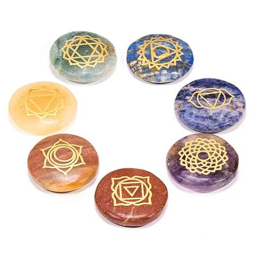 Edelstein SET: 7 Chakra Symbolsteine (rund)
