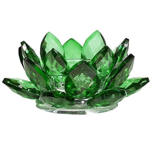 Bougeoir Lotus cristal vert