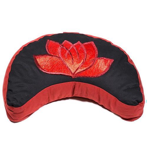 Meditationskissen Lotus rot/schwarz Halbmond