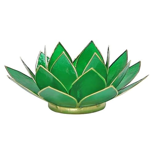 Eclairage Lotus 4° Chakra vert et or