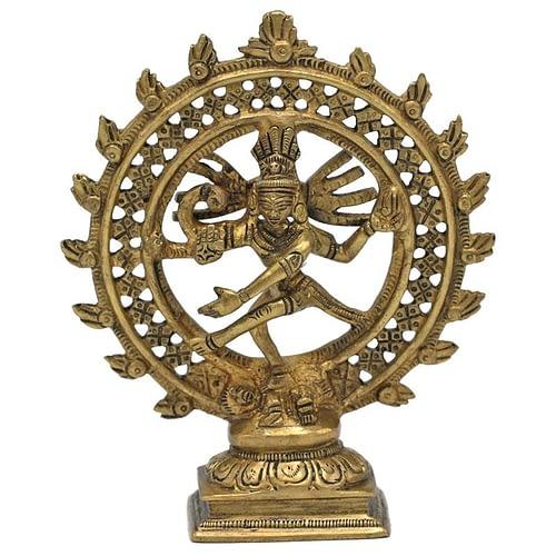 Shiva Nataraja brass doubble ring gold colored
