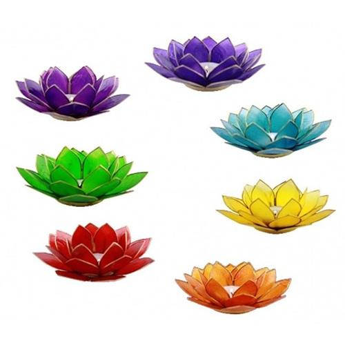 Set von 7 Lotus Teelichthaltern Chakra Goldrand