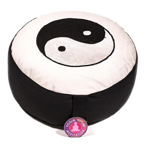 Meditatiekussen zwart/wit Yin Yang geborduurd