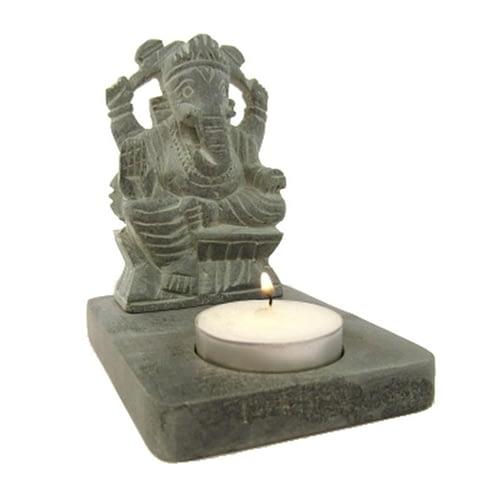 Tea-light holder Ganesh soapstone grey