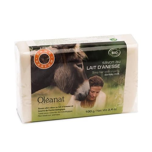Oleanat Unscented Soap with hypoallergenic donkey milk Organic 100 g