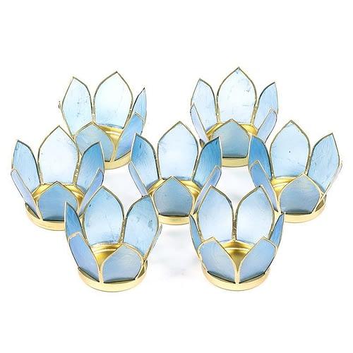 Set of 7: Lotus light small blue gold trim