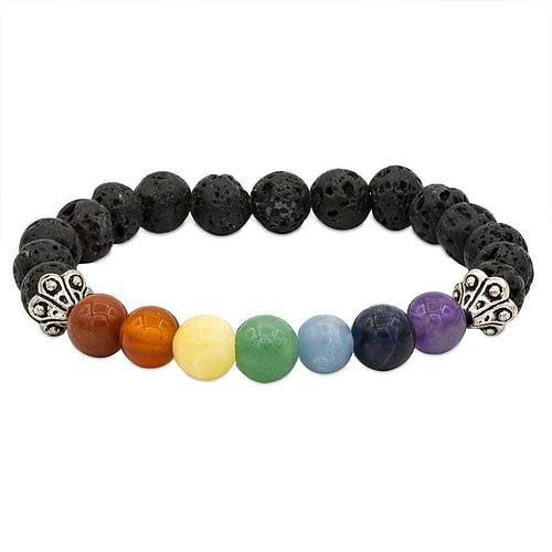 Bracelet des chakra en roche de Lave élastique