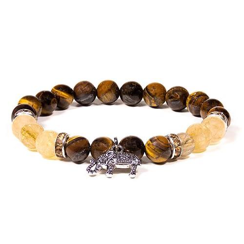 Bracelet Oeil de tigre / Quartz rutile avec éléphant