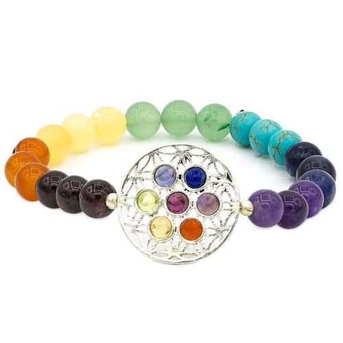 Bracelet 7 chakra avec Fleur de Vie élastique