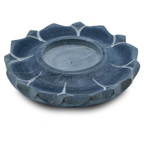 Bougeoir brûle encens lotus en pierre ollaire gris