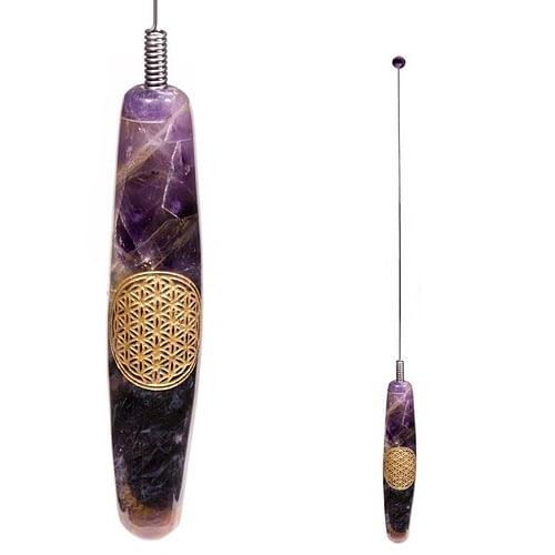 Bio-tensor spring steel antenna amethyst Flower of Life