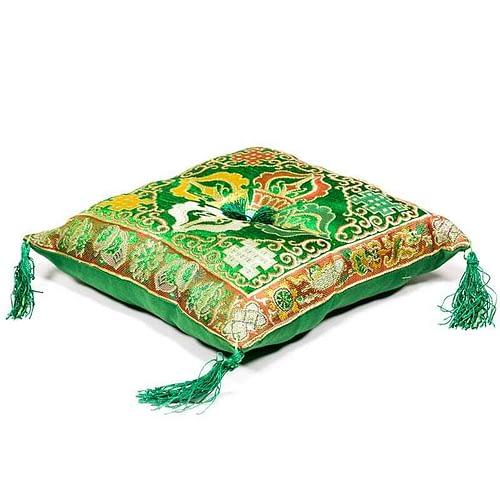 Singing Bowl cushion de luxe double dorje green