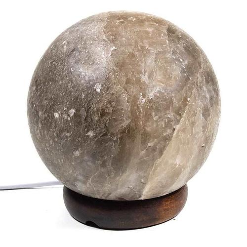 Crystal salt lamp sphere grey