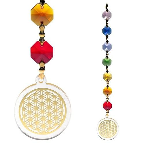 Feng Shui Blume des Lebens Anhänger goldfarben