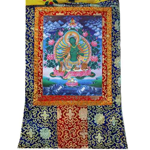 Thangka reproduction Green Tara