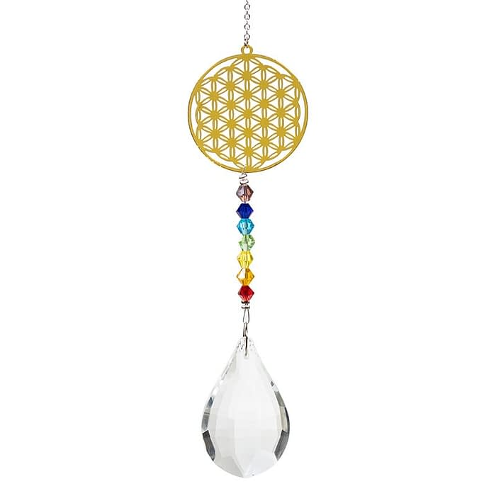 Flower of life crystal drop white and chakra string