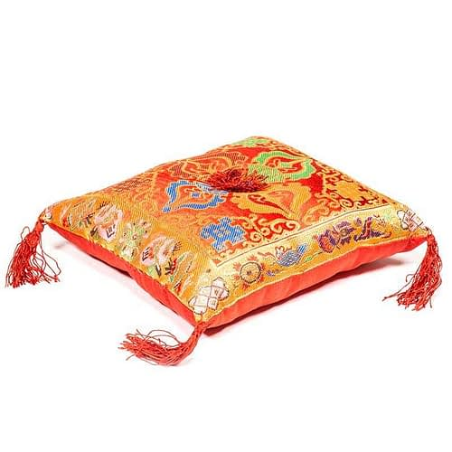 Singing Bowl cushion de luxe double dorje red