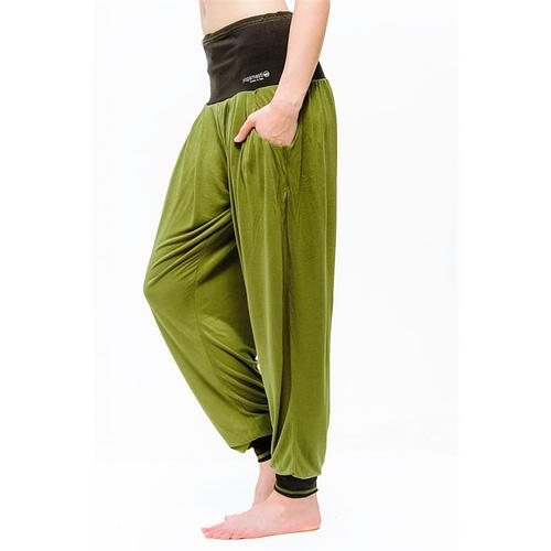 Pantalon de yoga Vinayasa vert olive/noir M-L