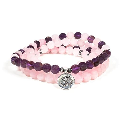 Mala roze quartz/amethyst elastic with ohm
