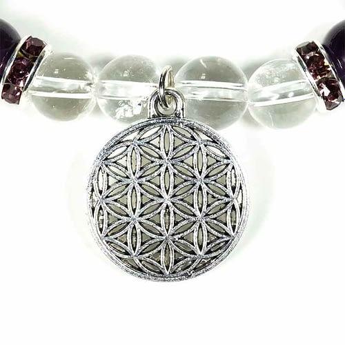Armband Bergkristall/Amethyst+Blume des Lebens