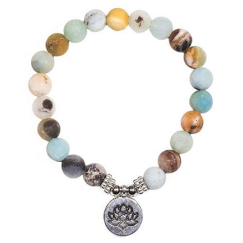 Mala/bracelet en Amazonite élastique avec lotus