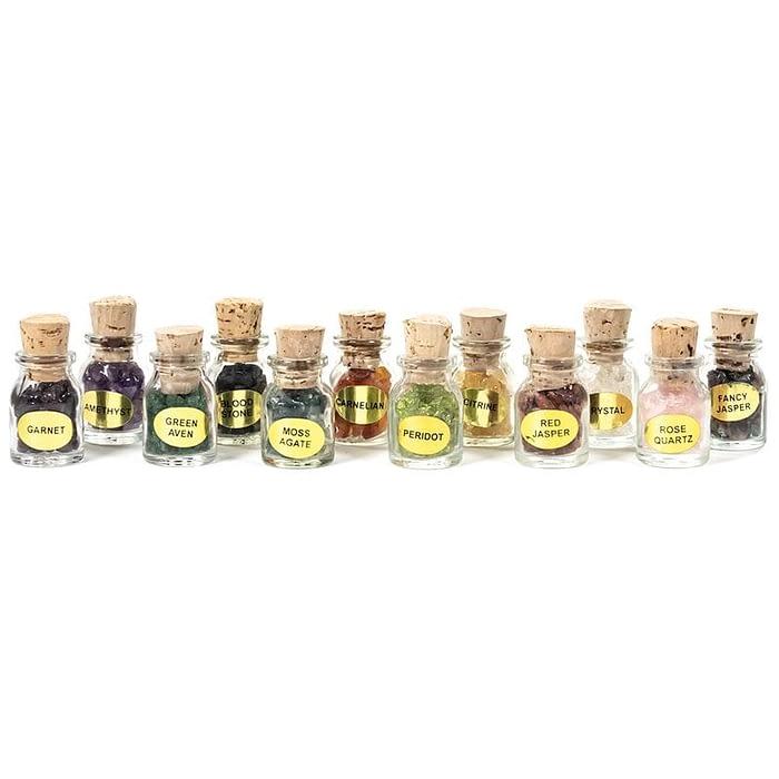 Set of 12 gemstone gift bottles