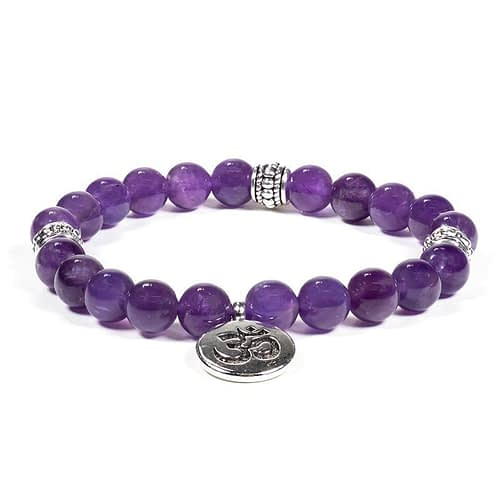 Mala/bracelet amethyst elastic with ohm