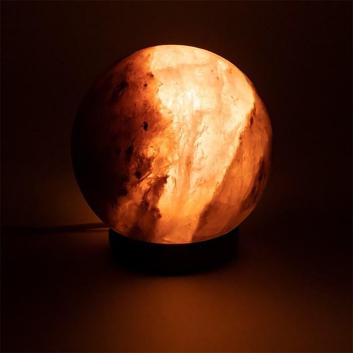 Salzkristall-Lampe graue Kugel
