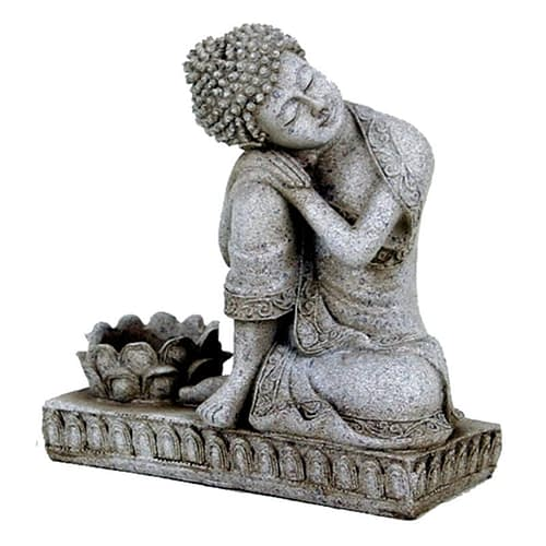 Buddha with candleholder grey colour