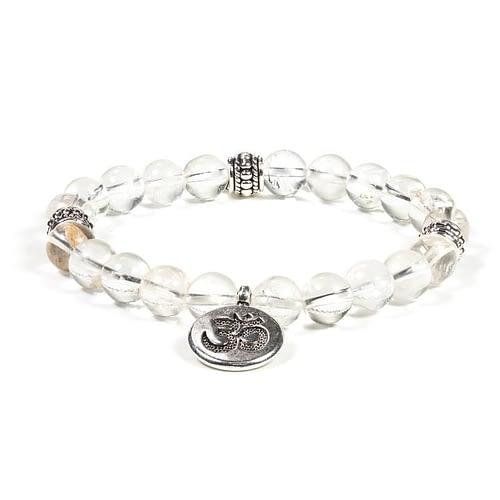 Mala / bracelet cristal de roche élastique Ohm