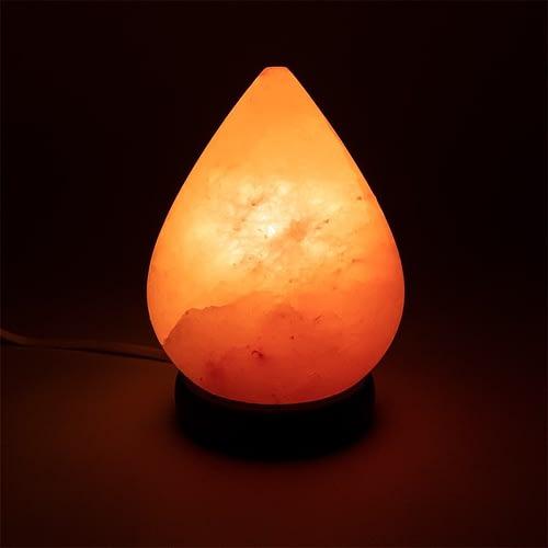 Lampe en cristal de sel en forme de goutte