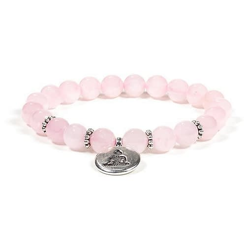 Mala / bracelet quartz rose élastique avec Bouddha