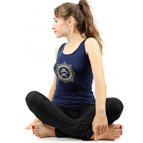 Yoga-Top 'OM Bali' marineblau S