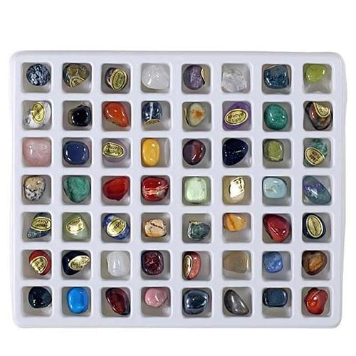 Geschenkdose mit 56 verschiedenen Edelsteinen