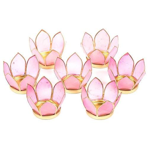 Set of 7: Lotus light small pink gold trim