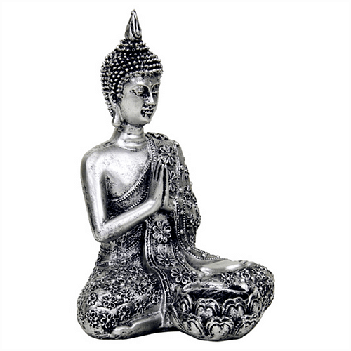 Buddha with candleholder silver colored