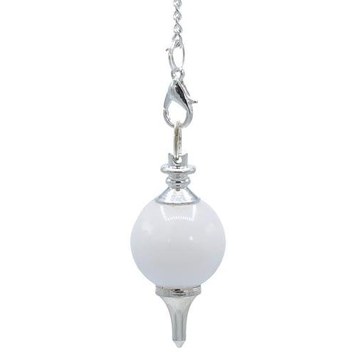 Pendule Agathe blanche polie + métal
