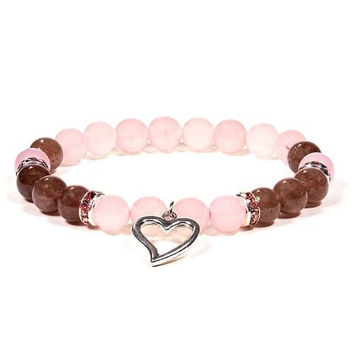 Bracelet Quartz rose / Quartz fraise avec coeur