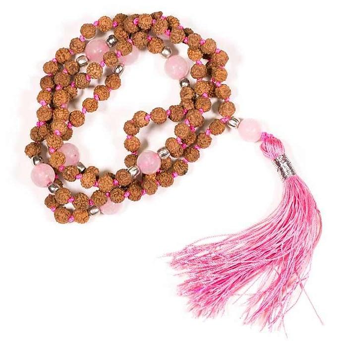Mala Rudraksha und Rosenquarz mit rosa Quaste